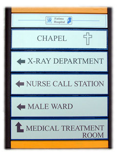 Directional sign, Fatima hospital, Galway